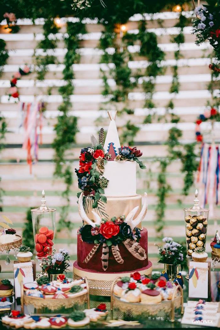 Boho Cake Table from a Boho Vintage 21st Birthday Party on Kara's Party Ideas | KarasPartyIdeas.com (10)
