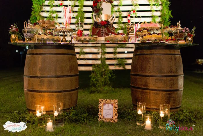 Boho Themed Wine Barrel Dessert Table from a Boho Vintage 21st Birthday Party on Kara's Party Ideas | KarasPartyIdeas.com (45)