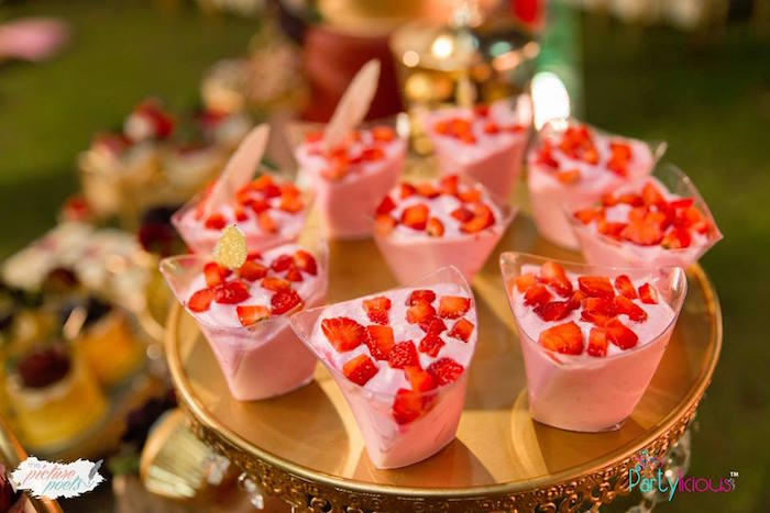 Strawberry Dessert Cups from a Boho Vintage 21st Birthday Party on Kara's Party Ideas | KarasPartyIdeas.com (6)