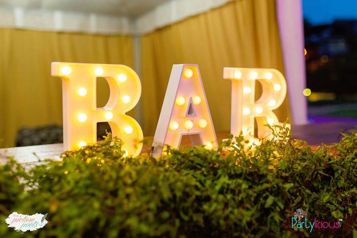 Marquee Light - BAR Letters from a Boho Vintage 21st Birthday Party on Kara's Party Ideas | KarasPartyIdeas.com (5)