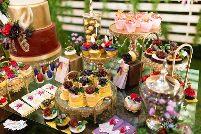 Boho Glam Dessert Table from a Boho Vintage 21st Birthday Party on Kara's Party Ideas | KarasPartyIdeas.com (4)