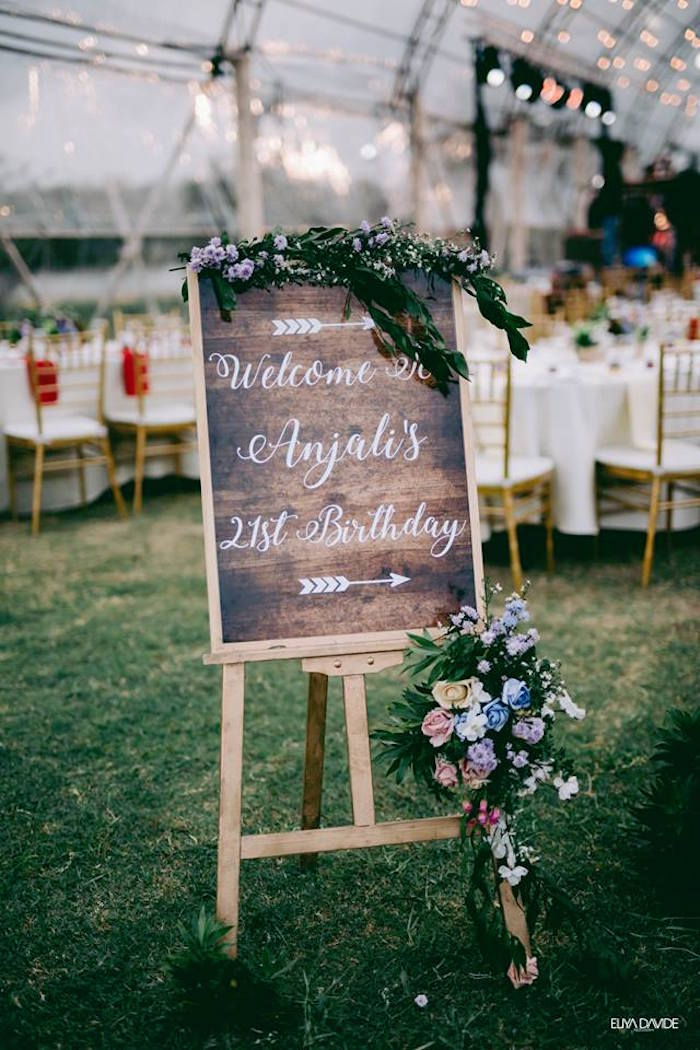 Wood Welcome Sign from a Boho Vintage 21st Birthday Party on Kara's Party Ideas | KarasPartyIdeas.com (40)