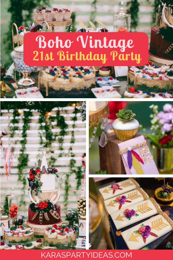 Boho Vintage 21st Birthday Party via Kara's Party Ideas - KarasPartyIdeas.com