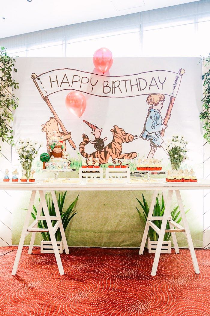 Winnie the Pooh Themed Dessert Table from a Christopher Robin + Winnie the Pooh Birthday Party on Kara's Party Ideas | KarasPartyIdeas.com (19)