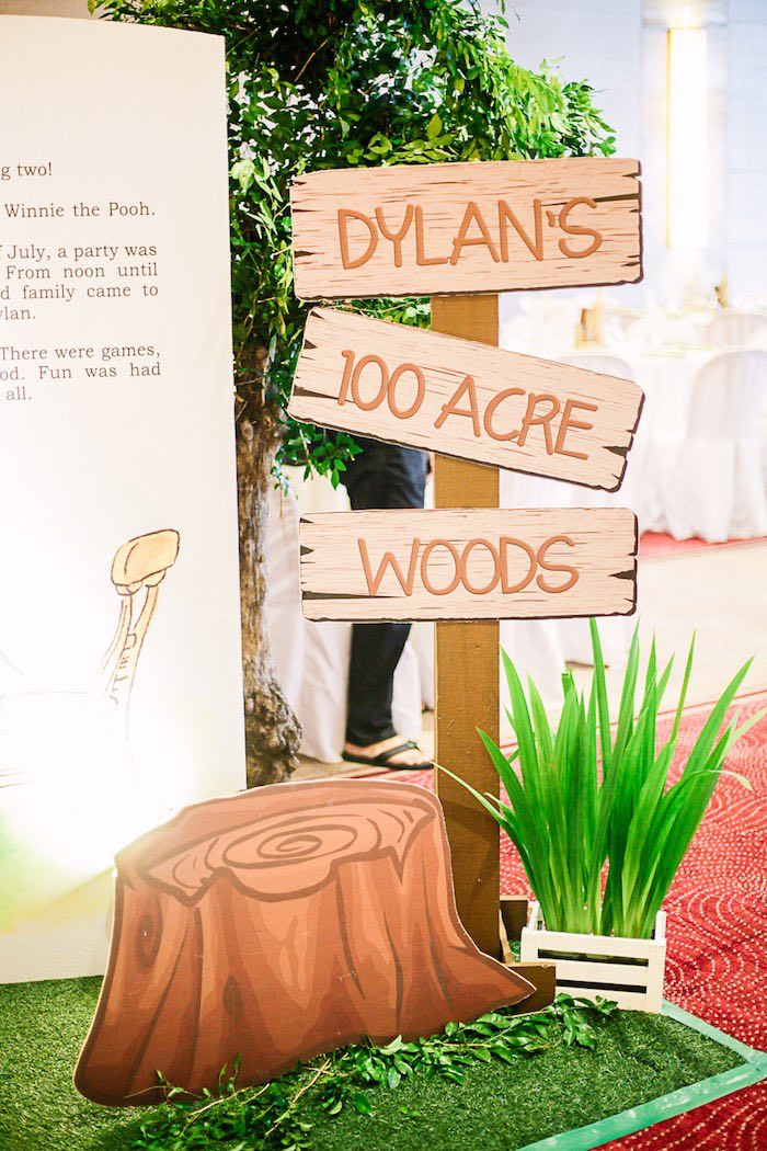 Hundred Acre Wood Sign from a Christopher Robin + Winnie the Pooh Birthday Party on Kara's Party Ideas | KarasPartyIdeas.com (14)