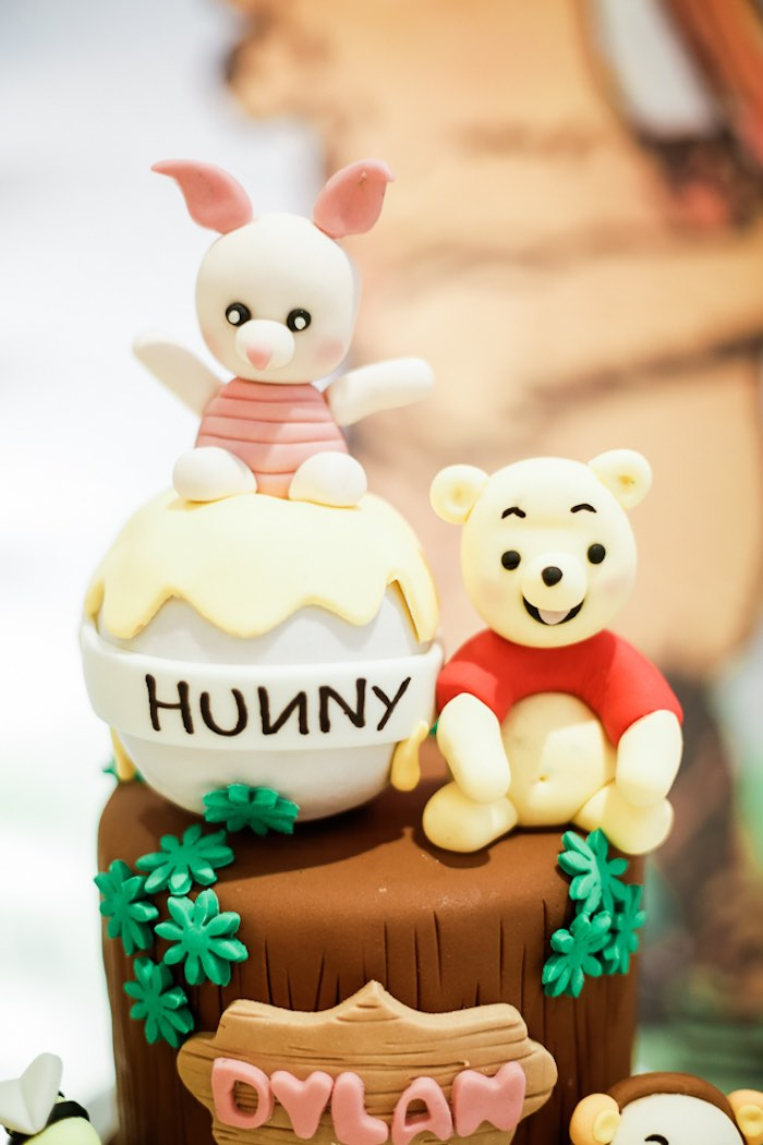 Pooh Bear Cake Top from a Christopher Robin + Winnie the Pooh Birthday Party on Kara's Party Ideas | KarasPartyIdeas.com (4)
