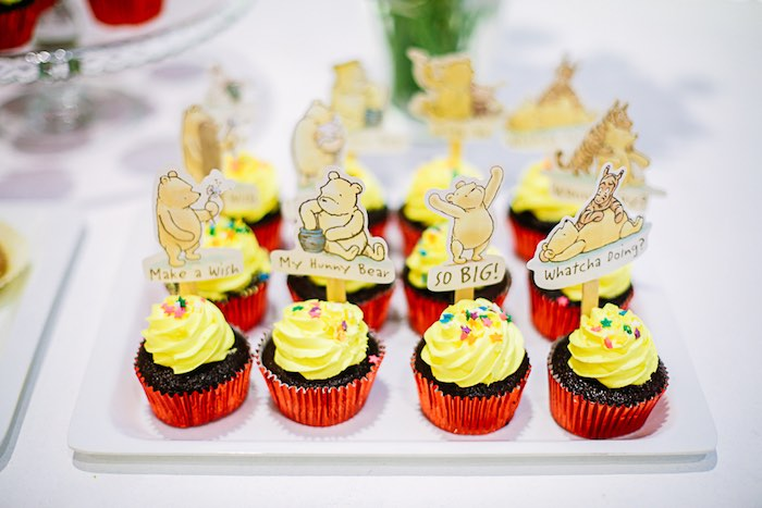Winnie the Pooh Cupcakes from a Christopher Robin + Winnie the Pooh Birthday Party on Kara's Party Ideas | KarasPartyIdeas.com (26)