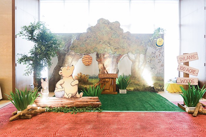 Winnie the Pooh Backdrop from a Christopher Robin + Winnie the Pooh Birthday Party on Kara's Party Ideas | KarasPartyIdeas.com (24)