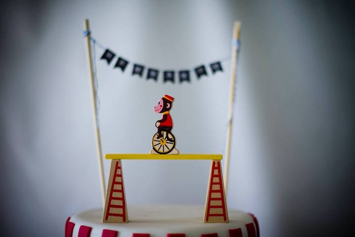 Circus Monkey Cake Topper from a Classic Circus Birthday Party on Kara's Party Ideas | KarasPartyIdeas.com (6)