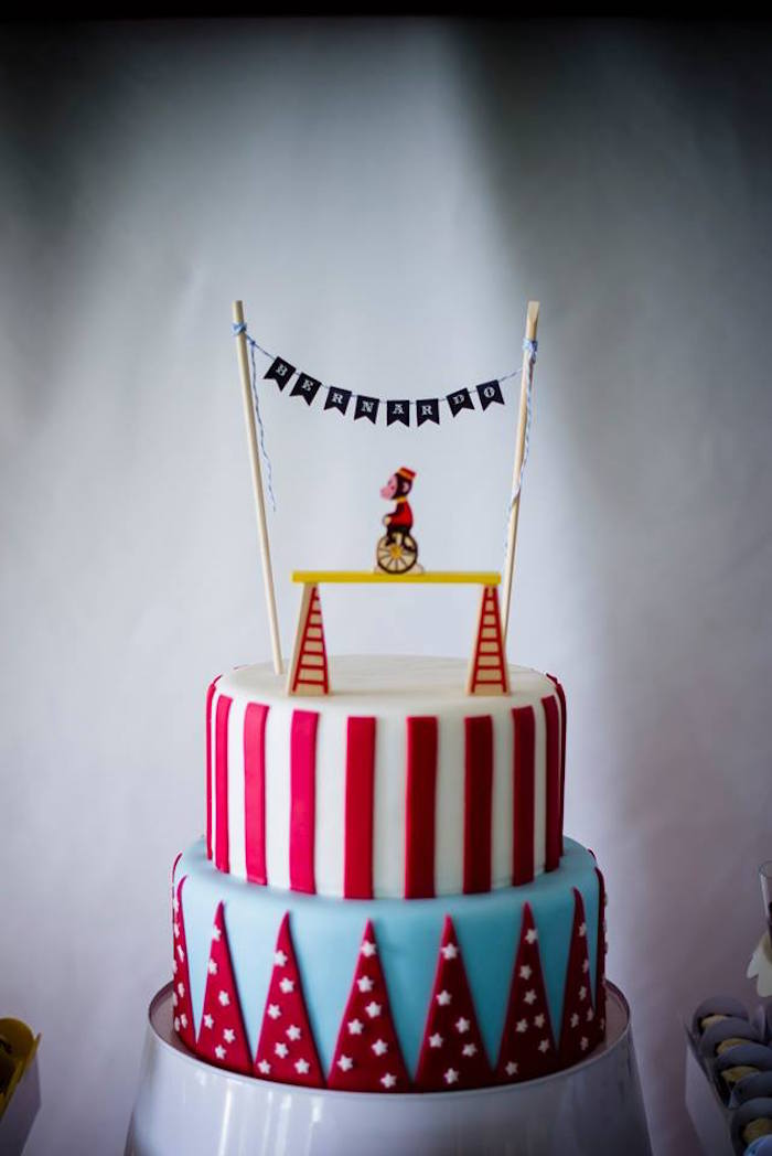 Circus Cake from a Classic Circus Birthday Party on Kara's Party Ideas | KarasPartyIdeas.com (5)