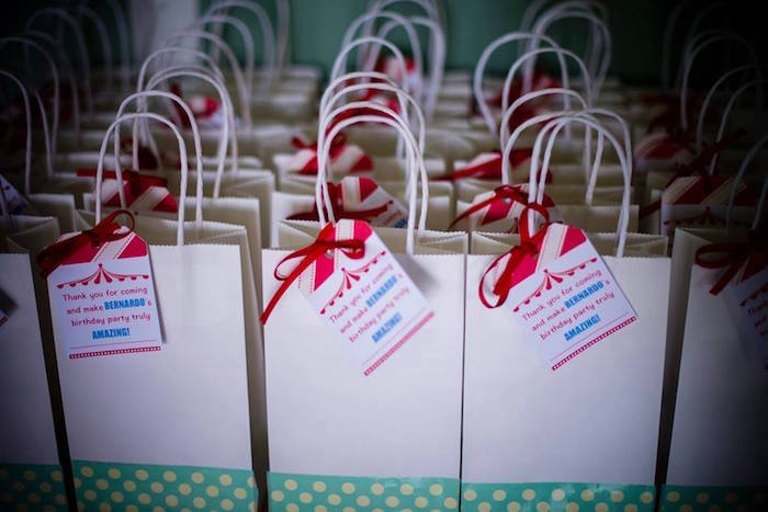Favor Bags with Circus Tent Tags from a Classic Circus Birthday Party on Kara's Party Ideas | KarasPartyIdeas.com (19)