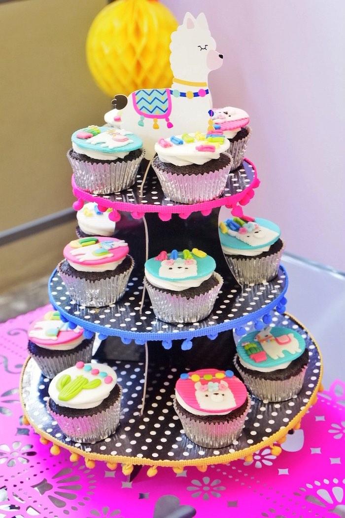 Pom Pom Cupcake Platter with Llama Cupcakes from a Colorful 1st Birthday Fiesta on Kara's Party Ideas | KarasPartyIdeas.com (22)