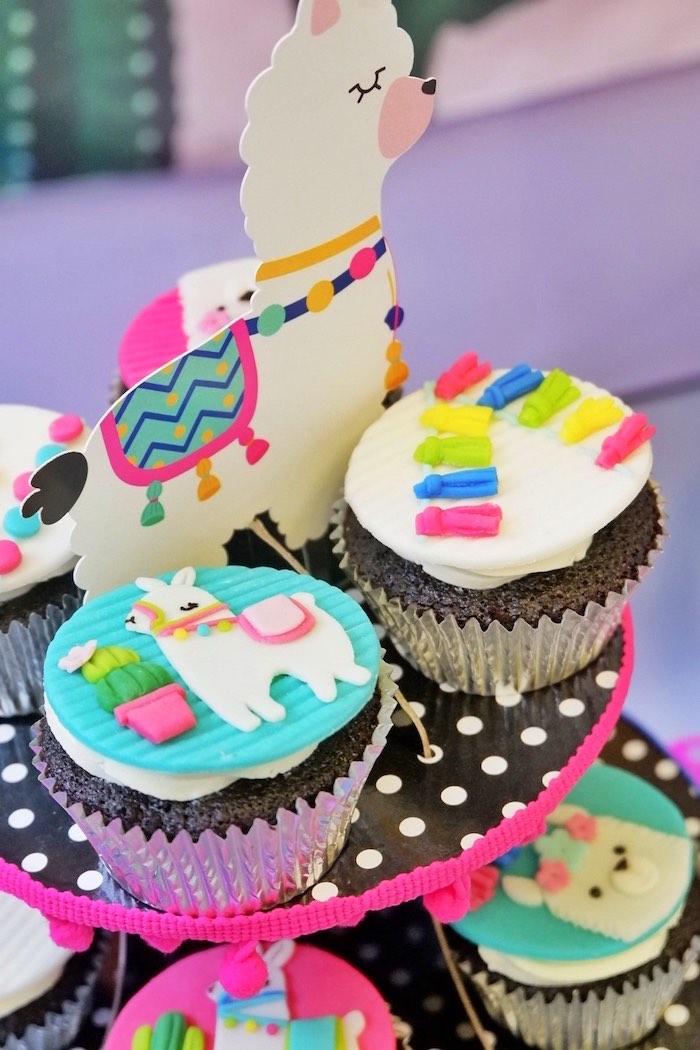 Llama Cupcakes from a Colorful 1st Birthday Fiesta on Kara's Party Ideas | KarasPartyIdeas.com (21)