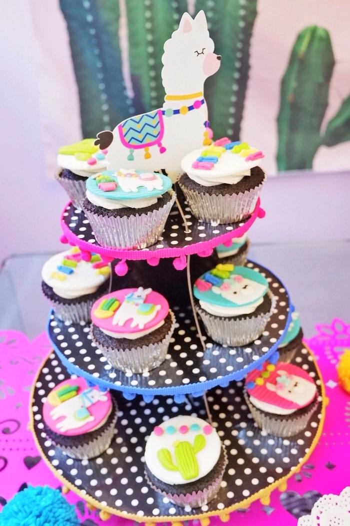 Llama Cupcakes from a Colorful 1st Birthday Fiesta on Kara's Party Ideas | KarasPartyIdeas.com (20)