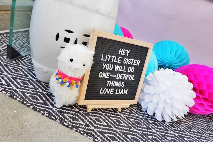 Llama + Letter Board from a Colorful 1st Birthday Fiesta on Kara's Party Ideas | KarasPartyIdeas.com (18)