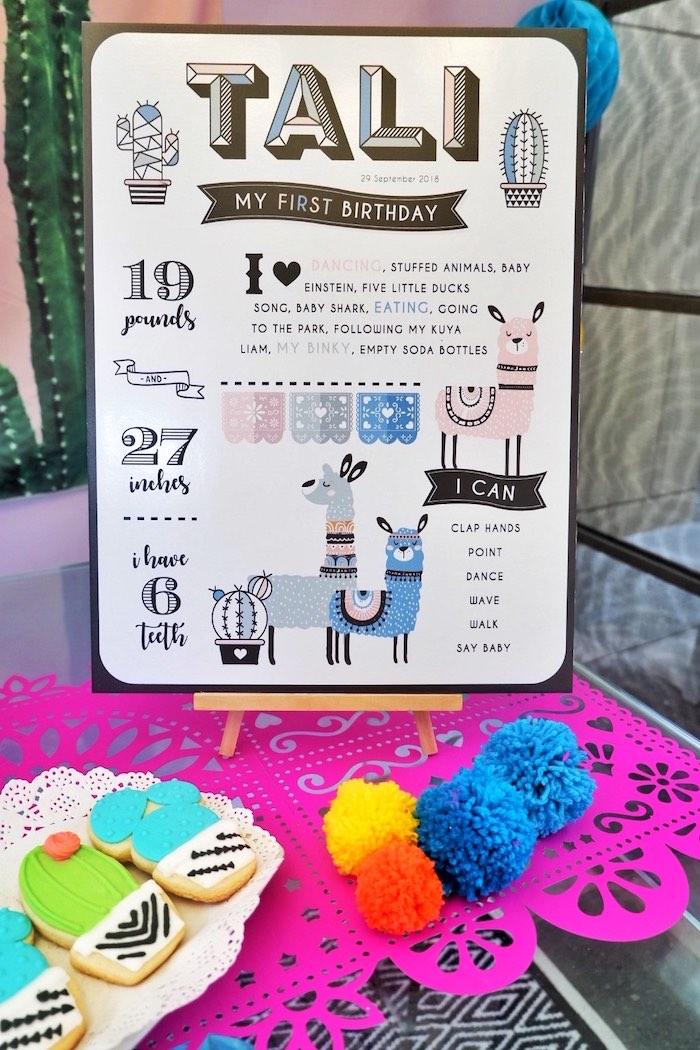 Llama Highlight Board from a Colorful 1st Birthday Fiesta on Kara's Party Ideas | KarasPartyIdeas.com (17)