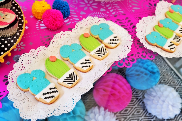 Cactus Cookies from a Colorful 1st Birthday Fiesta on Kara's Party Ideas | KarasPartyIdeas.com (16)