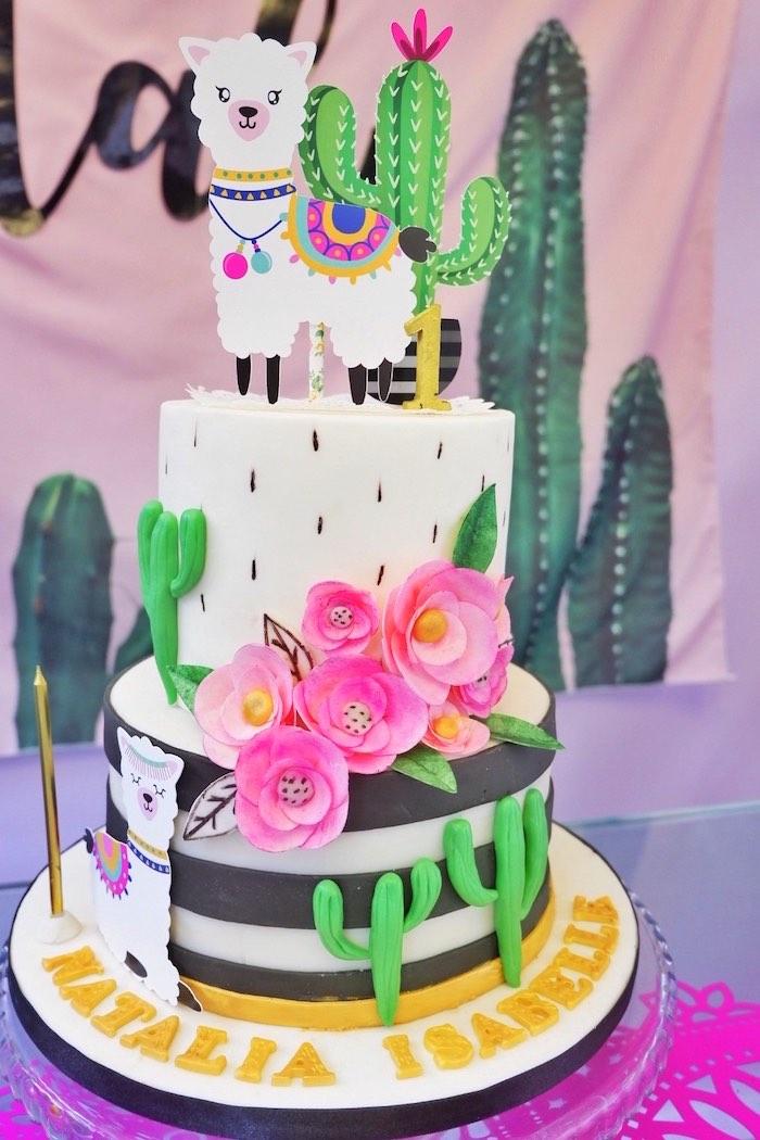 Llama Cactus Cake from a Colorful 1st Birthday Fiesta on Kara's Party Ideas | KarasPartyIdeas.com (15)