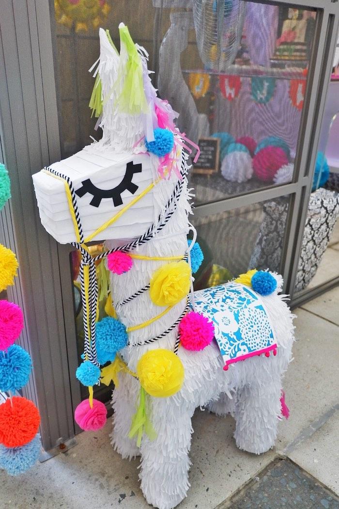 Llama Pinata from a Colorful 1st Birthday Fiesta on Kara's Party Ideas | KarasPartyIdeas.com (14)