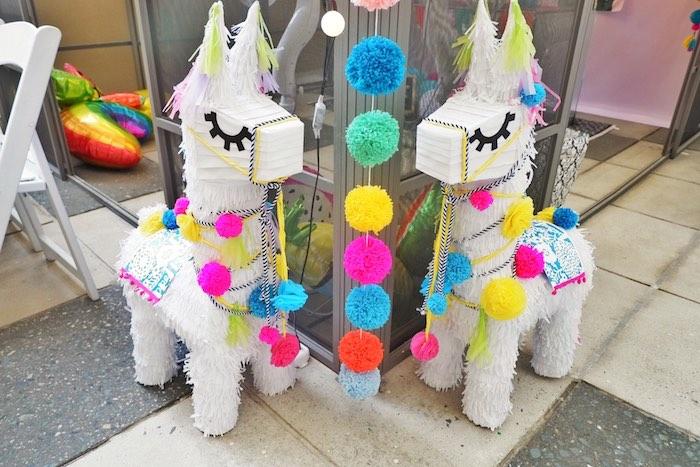 Llama Pinatas from a Colorful 1st Birthday Fiesta on Kara's Party Ideas | KarasPartyIdeas.com (12)