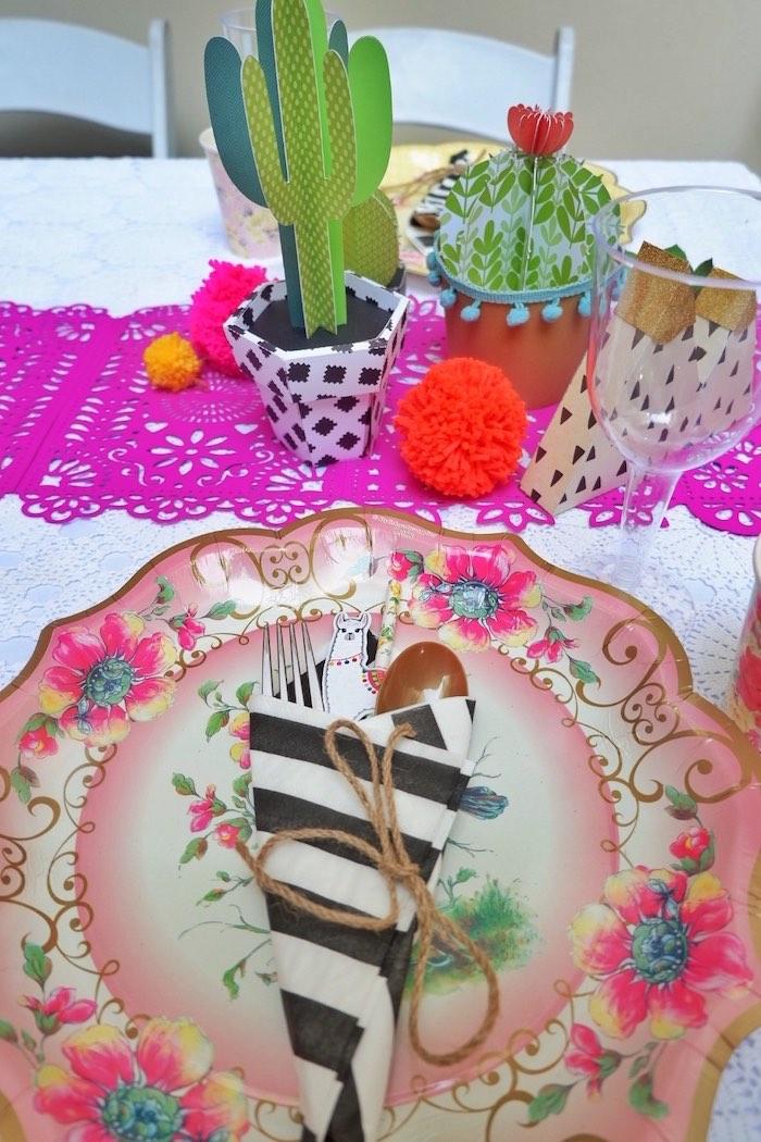Fiesta Table Setting from a Colorful 1st Birthday Fiesta on Kara's Party Ideas | KarasPartyIdeas.com (11)