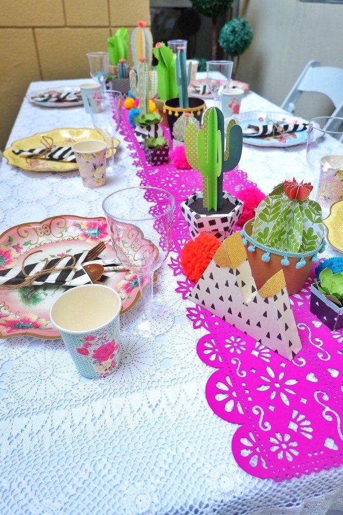 Fiesta Table from a Colorful 1st Birthday Fiesta on Kara's Party Ideas | KarasPartyIdeas.com (10)