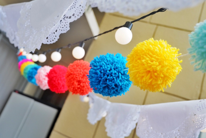 Yarn Pom Garland from a Colorful 1st Birthday Fiesta on Kara's Party Ideas | KarasPartyIdeas.com (8)