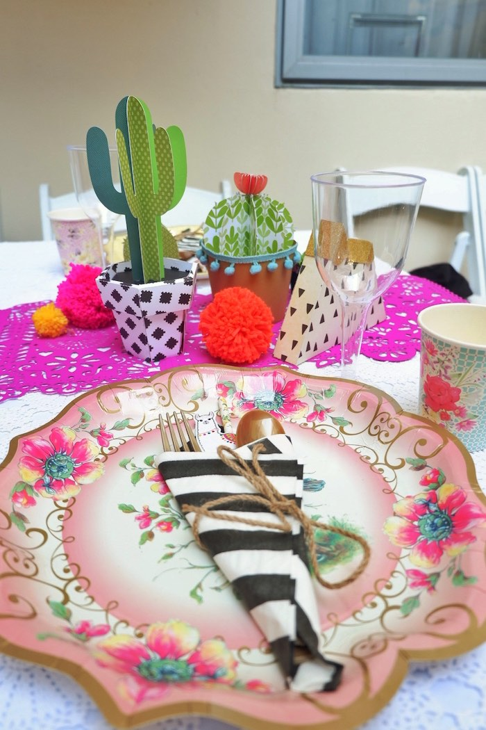 Fiesta Table Setting from a Colorful 1st Birthday Fiesta on Kara's Party Ideas | KarasPartyIdeas.com (31)