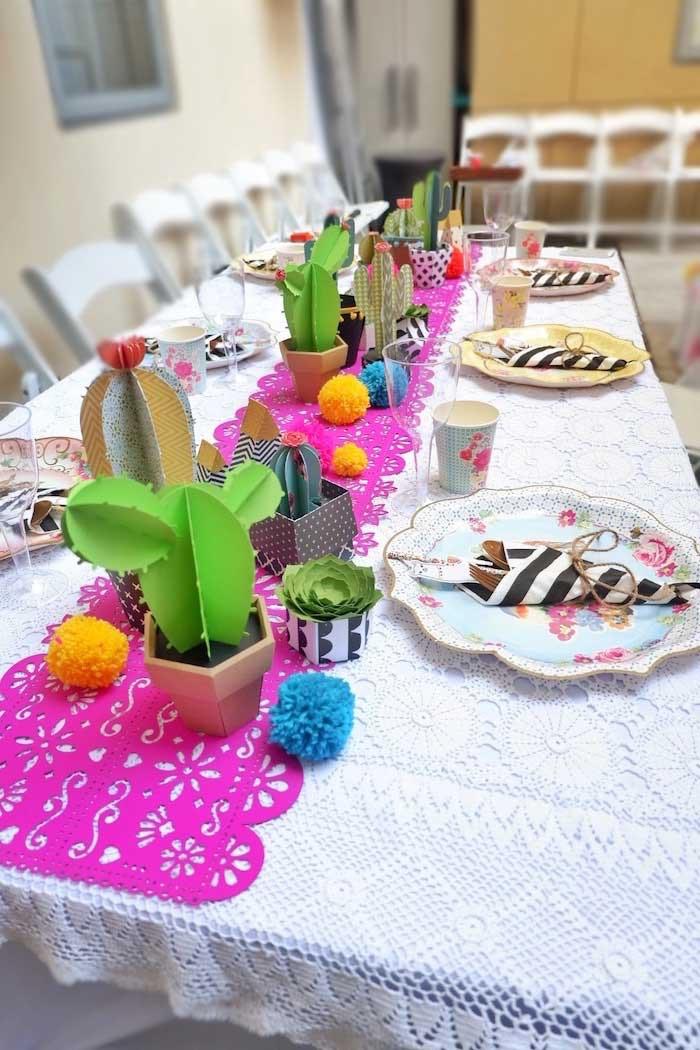 Fiesta Table from a Colorful 1st Birthday Fiesta on Kara's Party Ideas | KarasPartyIdeas.com (30)