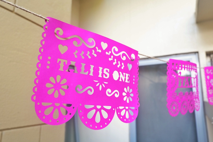 Papel picado banner from a Colorful 1st Birthday Fiesta on Kara's Party Ideas | KarasPartyIdeas.com (28)