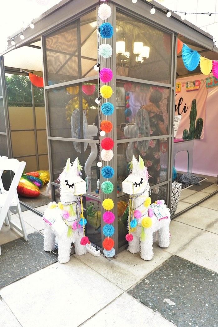 Llama Pinata & Pom Garland from a Colorful 1st Birthday Fiesta on Kara's Party Ideas | KarasPartyIdeas.com (26)