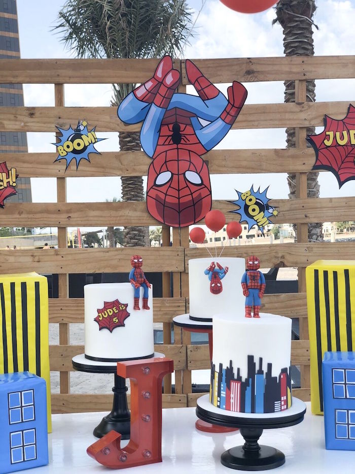 SpiderMan Cakes + Cake Table from a Comic Book Pop Art Spider Man Birthday Party on Kara's Party Ideas | KarasPartyIdeas.com (10)