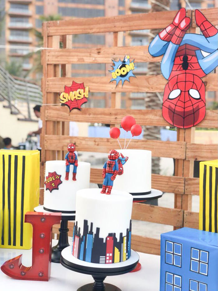 SpiderMan Cakes from a Comic Book Pop Art Spider Man Birthday Party on Kara's Party Ideas | KarasPartyIdeas.com (3)