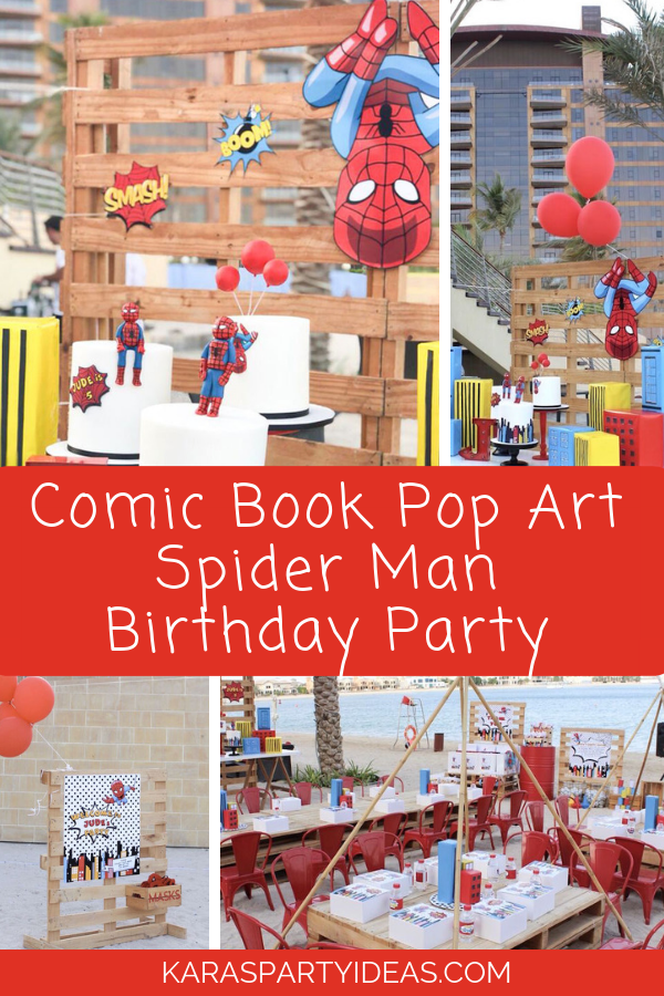 Comic Book Pop Art Spider Man Birthday Party via Kara's Party Ideas - KarasPartyIdeas.com