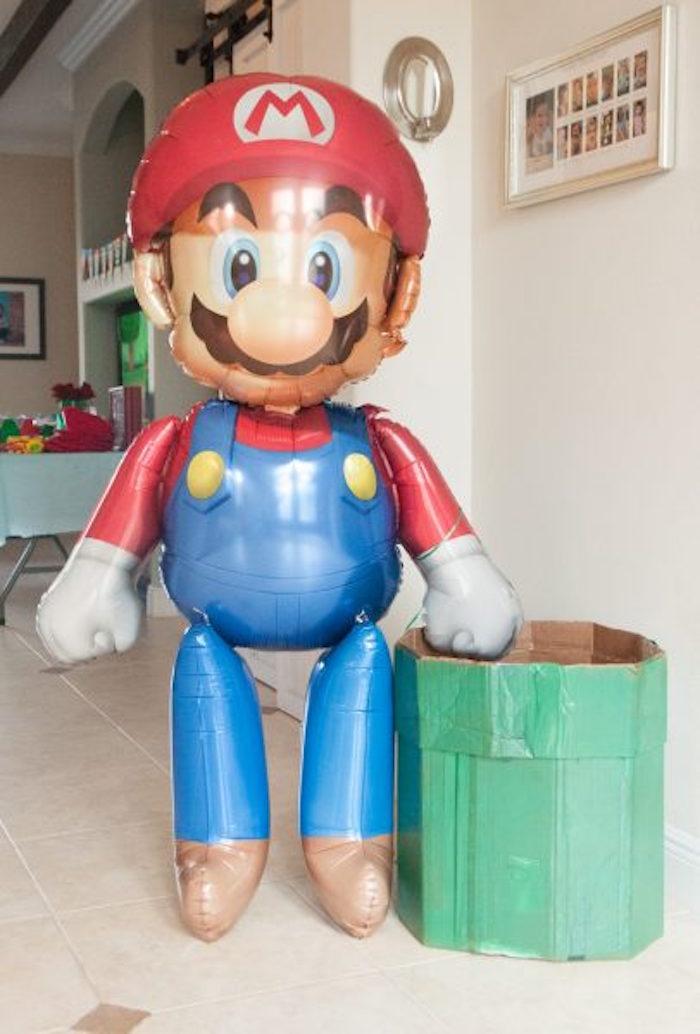 Mario Balloon from a DIY Super Mario Bros Birthday Party on Kara's Party Ideas | KarasPartyIdeas.com (23)