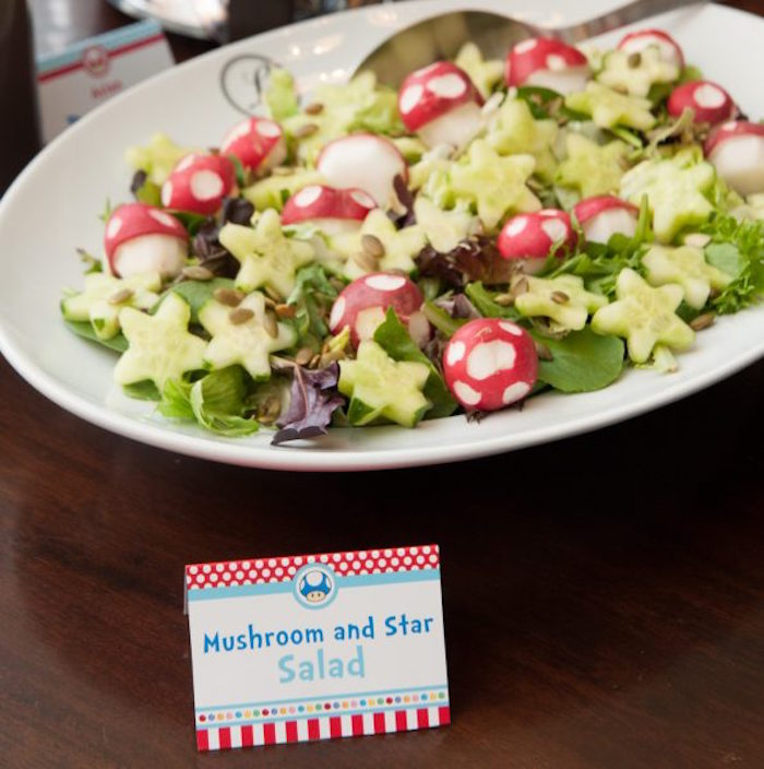 Mushroom & Star Salad from a DIY Super Mario Bros Birthday Party on Kara's Party Ideas | KarasPartyIdeas.com (20)