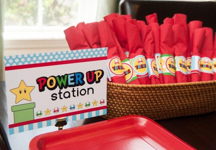 Super Mario Bros Power Up Station + Partyware from a DIY Super Mario Bros Birthday Party on Kara's Party Ideas | KarasPartyIdeas.com (17)