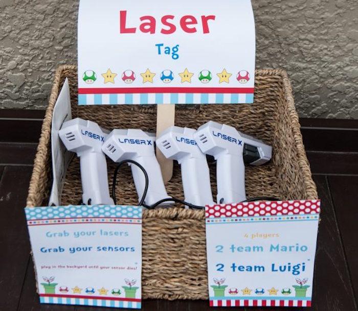 Super Mario Bros Laser Tag from a DIY Super Mario Bros Birthday Party on Kara's Party Ideas | KarasPartyIdeas.com (15)