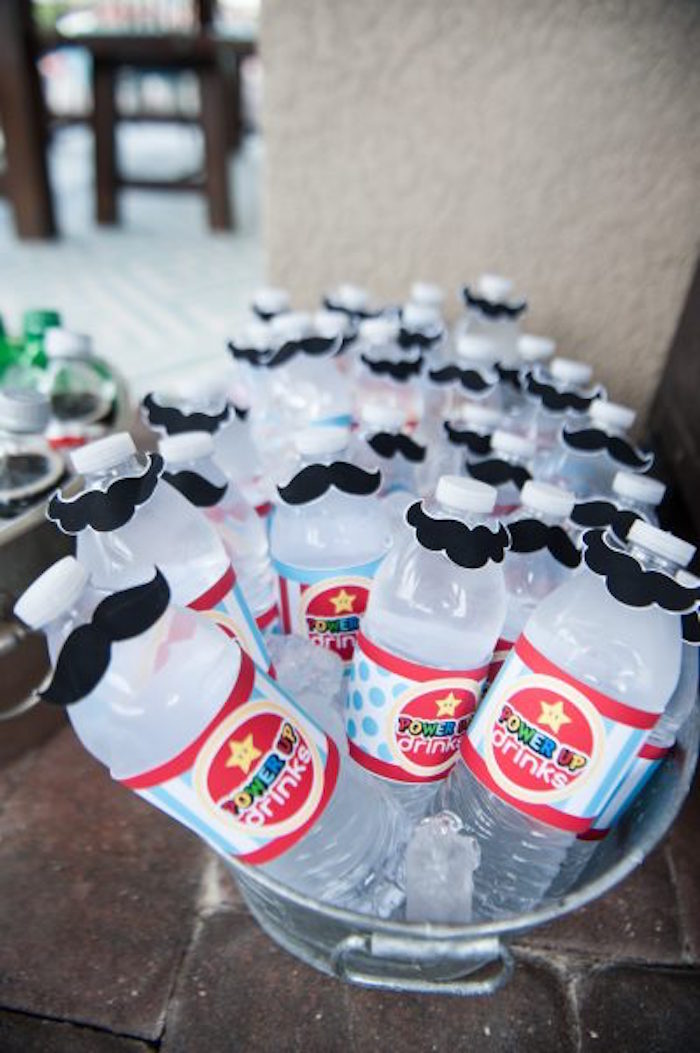 Super Mario Bros Mustache Water Bottles from a DIY Super Mario Bros Birthday Party on Kara's Party Ideas | KarasPartyIdeas.com (14)