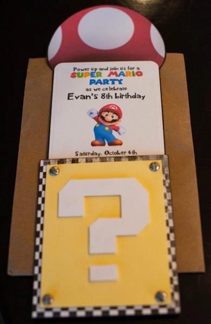 Super Mario Bros Party Invitation from a DIY Super Mario Bros Birthday Party on Kara's Party Ideas | KarasPartyIdeas.com (12)