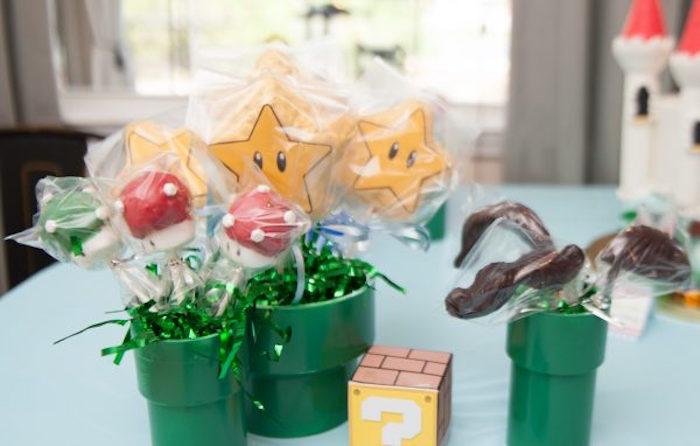 Super Mario Themed Lollipops in Tunnels from a DIY Super Mario Bros Birthday Party on Kara's Party Ideas | KarasPartyIdeas.com (3)
