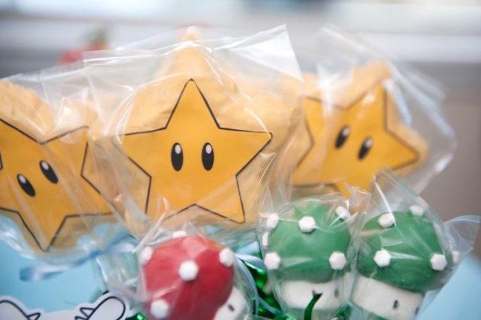 Super Mario Themed Marshmallow Pops from a DIY Super Mario Bros Birthday Party on Kara's Party Ideas | KarasPartyIdeas.com (31)