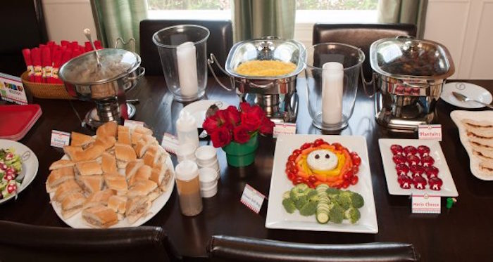 Super Mario Bros Food Table from a DIY Super Mario Bros Birthday Party on Kara's Party Ideas | KarasPartyIdeas.com (29)