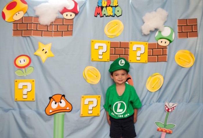 Super Mario Bros Photo Booth Backdrop from a DIY Super Mario Bros Birthday Party on Kara's Party Ideas | KarasPartyIdeas.com (27)