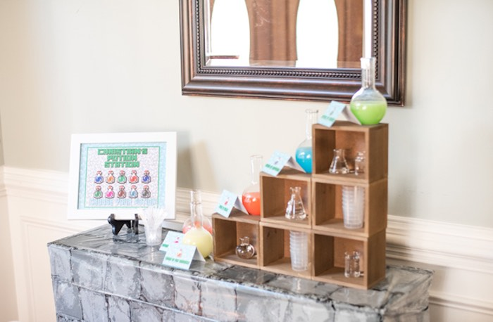 Potion Station from an Epic Minecraft Birthday Party on Kara's Party Ideas | KarasPartyIdeas.com (17)