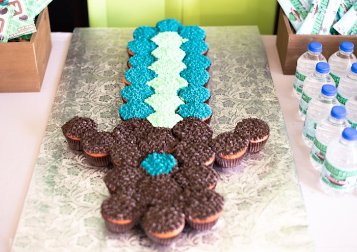 Minecraft Sword Cupcake Cake from an Epic Minecraft Birthday Party on Kara's Party Ideas | KarasPartyIdeas.com (15)