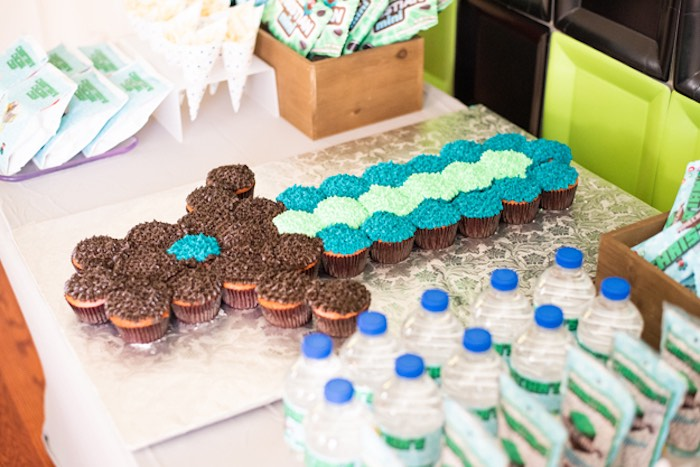 Minecraft Sword Cupcake Cake from an Epic Minecraft Birthday Party on Kara's Party Ideas | KarasPartyIdeas.com (14)