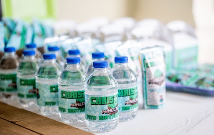 Minecraft Labeled Water Bottles from an Epic Minecraft Birthday Party on Kara's Party Ideas | KarasPartyIdeas.com (31)