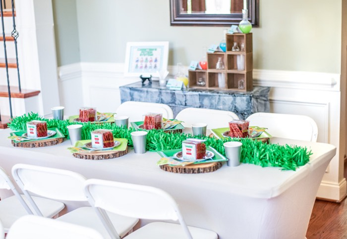 Minecraft Themed Guest + Dining Table from an Epic Minecraft Birthday Party on Kara's Party Ideas | KarasPartyIdeas.com (27)