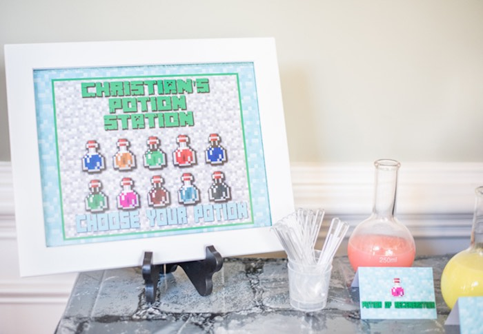 Minecraft Potion Station Signage from an Epic Minecraft Birthday Party on Kara's Party Ideas | KarasPartyIdeas.com (25)